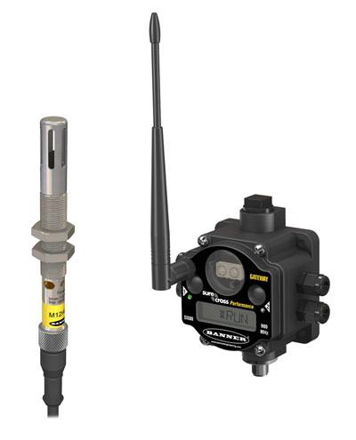 Nodo SureCross FlexPower™ con batería interna y sensor de temperatura y humedad.