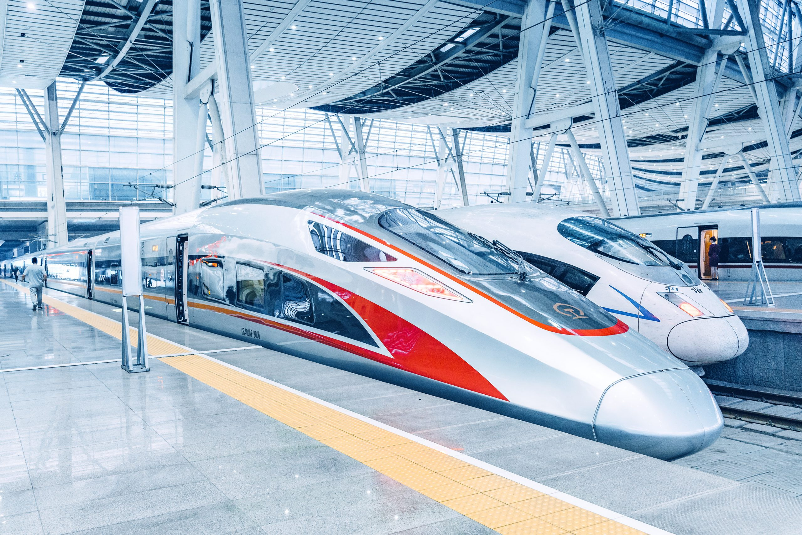 Beijing, China - April 18, 2018: View of Modern High speed Bullet trains in Beijing south train station, China